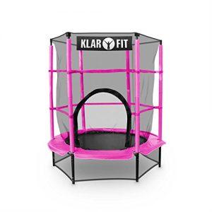 Klarfit-Rocketkid-Trampoline-avec-surface-de-saut-de-140cm-et-filet-de-scurit-supporte-jusqu-50-kg--partir-de-3-ans-rose-0