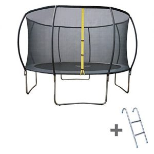 Trampoline-370cm-gris-MANLY-avec-filet-de-protection-et-son-chelle-0