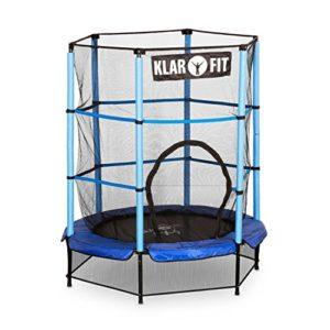 Klarfit-Rocketkid-Trampoline-surface-de-saut-de-140cm-filet-de-scurit-supporte-jusqu-50-kg--partir-de-3-ans-bleu-0