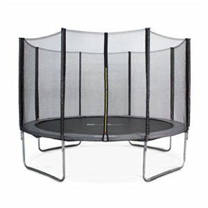 Alices-Garden-Trampoline-rond--370cm-gris-avec-son-filet-de-protection-Saturne-Trampoline-de-jardin-370-cm-3m-Qualit-PRO-Normes-EU-0