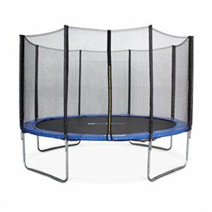 Alices-Garden-Trampoline-Rond--370cm-Bleu-avec-Son-Filet-de-Protection-Saturne-Trampoline-de-Jardin-370-cm-3m-Qualit-Pro-Normes-EU-0
