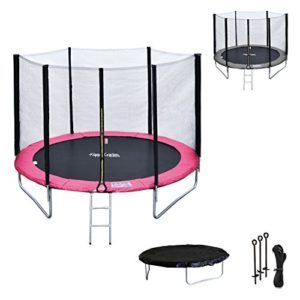 Happy-Garden-Pack-Premium-Trampoline-245cm-rversible-GrisRose-Canberra-Filet-chelle-bche-et-kit-dancrage-0