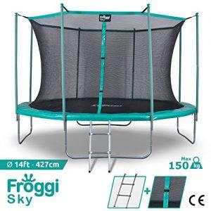 FROGGI-Trampoline-dextrieur-Sky-427cm-Norme-CE-Structure-Garantie-5-Ans-Charge-Max-150-kg-0
