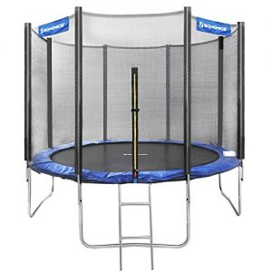 SONGMICS-Trampoline-extrieur-Diamtre-305-cm-quipement-Jardin-avec-chelle-Filet-de-Protection-Poteaux-recouverts-Scurit-teste-par-TV-Rheinland-Noir-et-Bleu-STR10FT-0