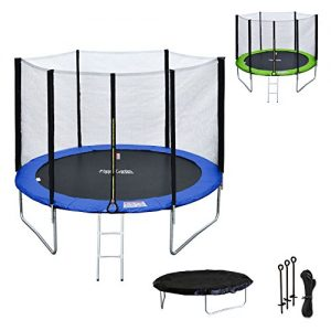Happy-Garden-Pack-Premium-Trampoline-305cm-rversible-VertBleu-ADELADE-Filet-chelle-bche-et-kit-dancrage-0