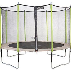 Kangui-Trampoline-JUMPI-ZEN-filet-chelle-PVC-couverture-de-propret-kit-dancrage-Beige-et-vert-250cm-300cm-360cm-430cm-0