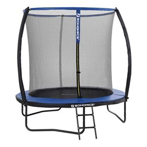 SONGMICS-Trampoline-extrieur-Diamtre-244-cm-quipement-Jardin-avec-chelle-Filet-de-Protection-Poteaux-recouverts-Scurit-teste-par-TV-Rheinland-Noir-et-Bleu-STR8BK-0