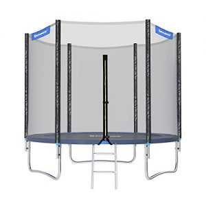 SONGMICS-Trampoline-extrieur-Diamtre-244-cm-quipement-jardin-avec-chelle-Filet-de-protection-Poteaux-recouverts-Scurit-teste-par-TV-Rheinland-Noir-et-bleu-STR8FT-0