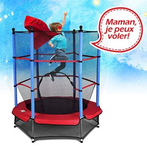 GOPLUS-Trampoline-Exterieur-EnfantTrampoline-Exterieur-et-Intrieur-avec-Filet-de-ScuritBords-Rembourrs-Facile--Ranger-et--Transporter-140cm-x-162cm-0