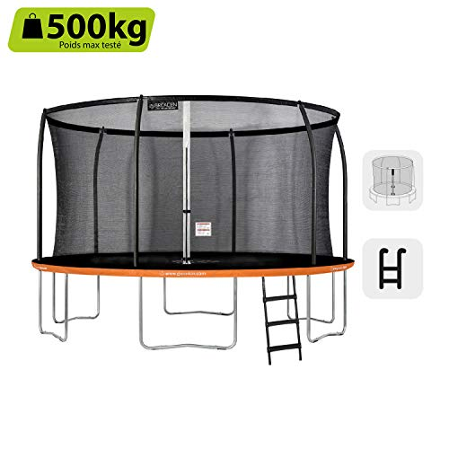 GREADEN-Trampoline-extrieur-Rond-Freestyle-Orange-430-chelle-Pack-Plus-Fitness-Jardin-Trampoline–427cm-0