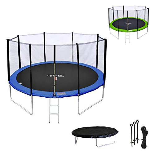 Happy-Garden-Pack-Premium-Trampoline-430cm-rversible-BleuVert-Melbourne-Filet-chelle-bche-et-kit-dancrage-0