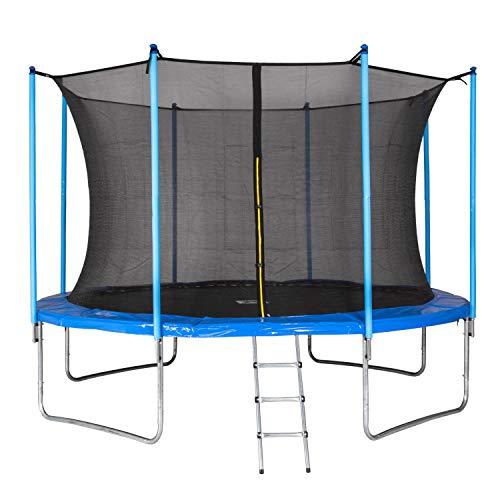 Ampel-24-MotionXperts-Trampoline-de-Jardin-366-cm-Bleu-avec-Filet-intrieur-piquets-rembourrs-et-chelle-Charge-Max-150-kg-0
