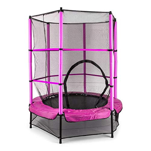 Klarfit-Rocketkid-Trampoline-adapt-au-Jardin-pour-Les-Enfants-de-Plus-de-3-Ans-Surface-de-Saut-de-140cm-Filet-de-scurit-Cordes-Charge-maximale-50-kg-Rebord-rembour-Rose-0
