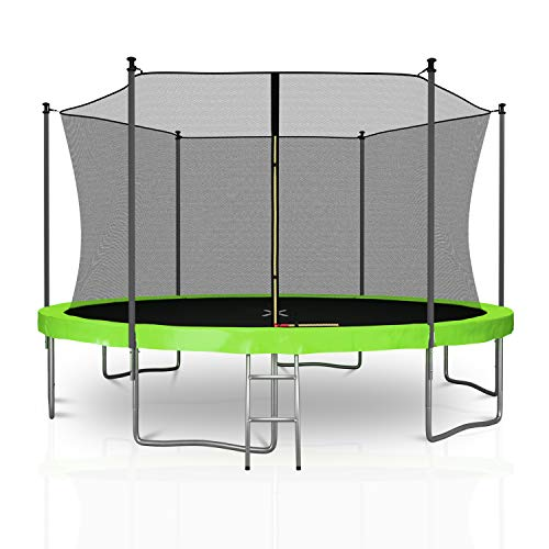 Trampoline-de-Jardin-TUV-avec-Filet-intrieur-de-scurit-Echelle-et-Mousse-de-Protection–diamtre-13-FT-400-cm-6-perches-Vert-0