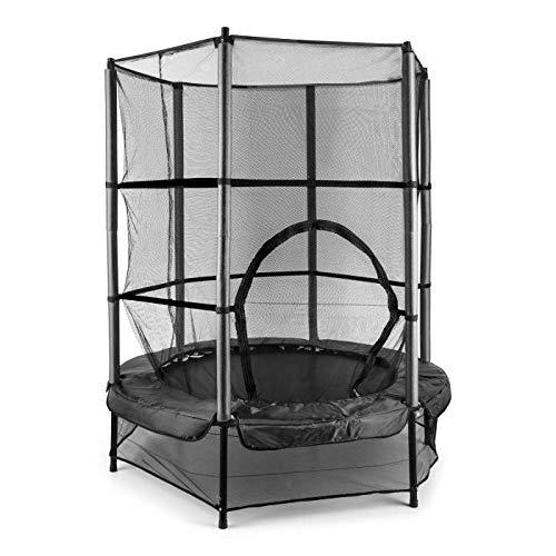 KLAR-FIT-Rocketkid-Trampoline-Adapt-au-Jardin-pour-Enfants-de-Plus-de-3-Ans-Surface-de-Saut-de-140cm-Filet-de-scurit-Cordes-Charge-maximale-50kg-Rebord-rembour-Noir-0
